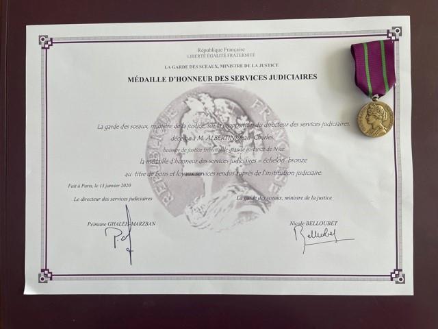 REMISE DE LA MEDAILLE D'HONNEUR DES SERVICES JUDICIAIRES (Echelon Bronze)